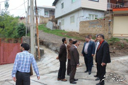 بازدید فرماندار آزادشهر از پروژهای عمرانی روستا سوسرا بخش چشمه ساران