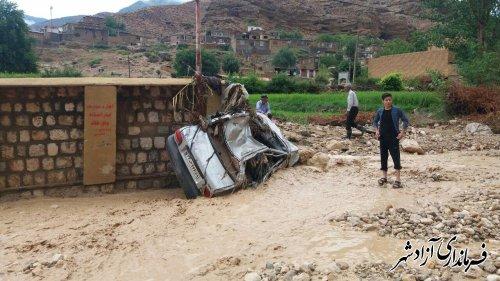 گزارش كامل خسارات سيلاب امروز در بخش چشمه ساران شهرستان آزادشهر