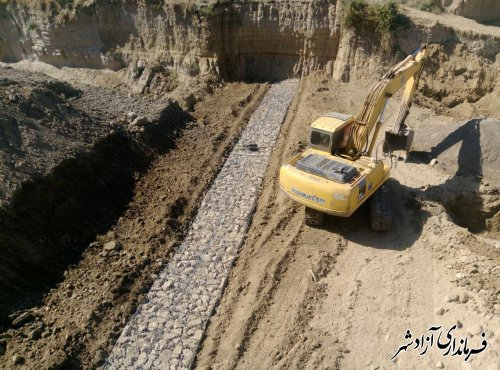 اجرای پروژه تثبیت بستر و ساماندهی رودخانه خرمارود شهرستان آزادشهر