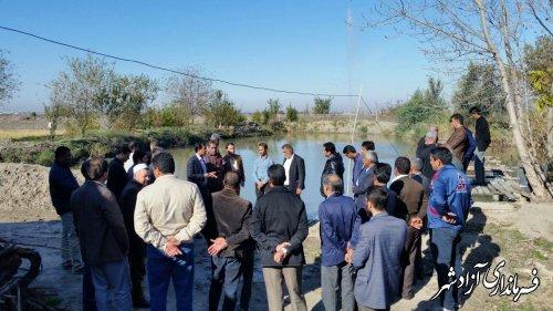 بازدید بخشدار، دهیاران و روسای شوراهای بخش مرکزی آزادشهر از محل پرورش ماهی روستایی
