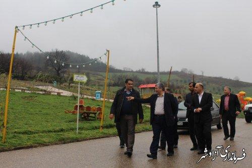بازدید معاون عمرانی استاندار و فرماندار آزادشهر از مخزن آبرسانی و پارک تفریحی زیتون تپه