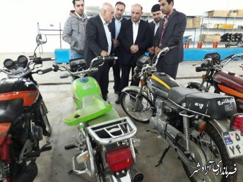 بازدید فرماندار آزادشهر از واحد تولیدی قطعات موتورسیکلت این شهرستان