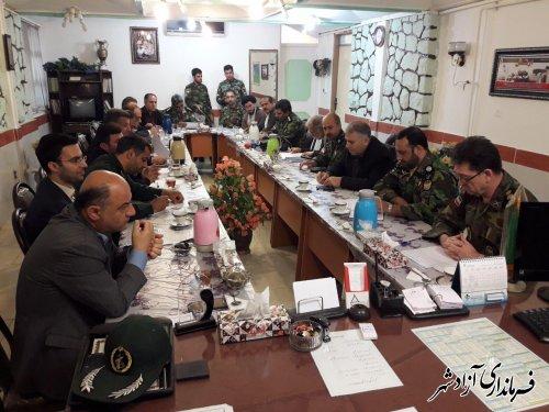 برگزاری جلسه هماهنگی برنامه های روز ارتش در شهرستان آزادشهر
