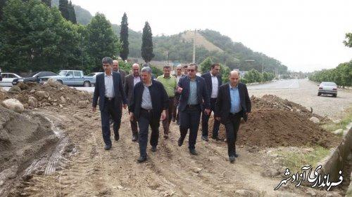 بازدید معاون هماهنگی امورعمرانی استاندار گلستان از پروژه های شهر نوده خاندوز شهرستان آزادشهر