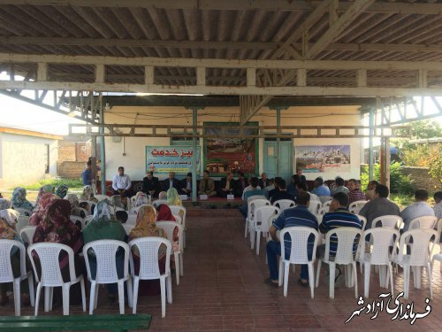 برپایی میز خدمت فرماندار شهرستان آزادشهر و اعضای شورای اداری در روستای آقچه لی قرخلر