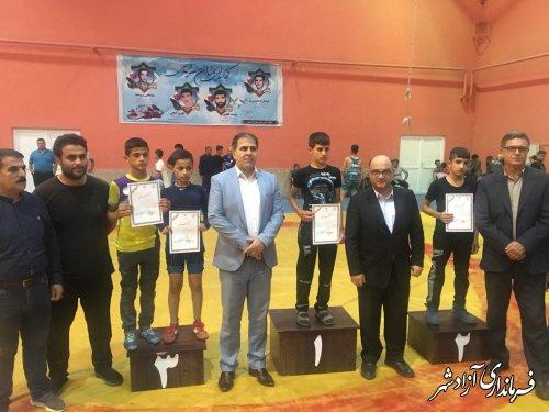 مسابقات قهرمانی کشتی استان گلستان در رده نونهالان در شهرستان آزادشهر برگزار شد