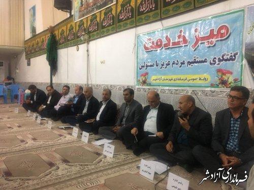 برپایی میز خدمت فرماندار شهرستان آزادشهر و اعضای شورای اداری در روستای کوهمیان