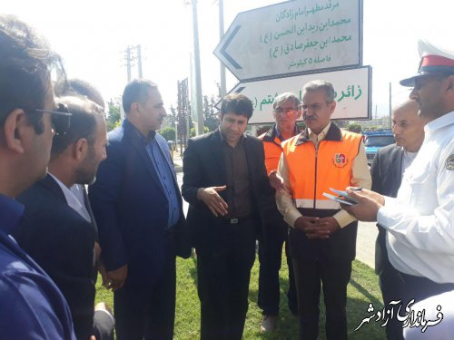 بازدید جمعی از نمایندگان شورای ترافیک استان از میدان جمهوری اسلامی شهرستان آزادشهر
