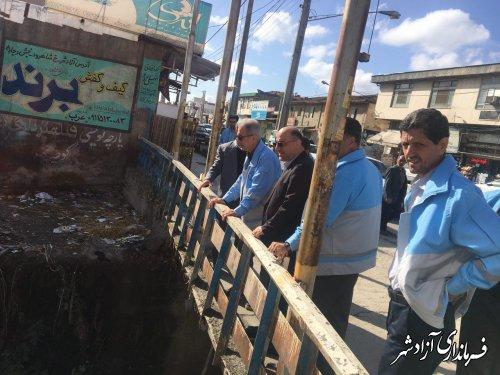بازدید مدیرکل مدیریت بحران استانداری به همراه فرماندار از وضعیت رودخانه های سطح شهر آزادشهر