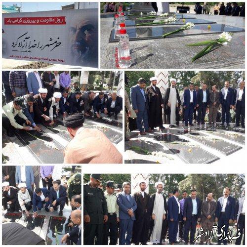 مزار شهداء گمنام شهرستان آزادشهر غبارروبی و عطر افشانی شد