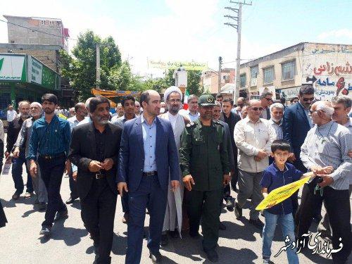 خروش انقلابی مردم روزه دار شهرستان آزادشهر در دفاع از ملت مظلوم فلسطین و قدس شریف