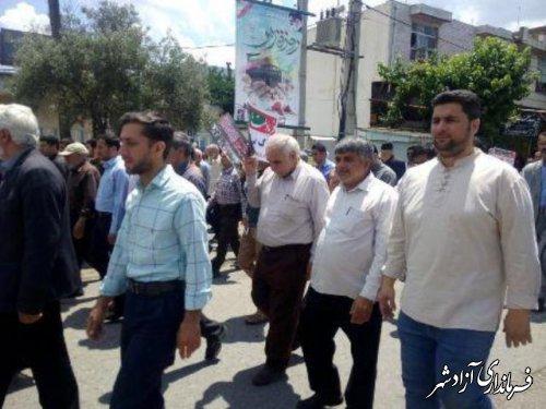 حضور گسترده  اصناف و بازاریان آزادشهر در راهپیمایی روز جهانی قدس 98