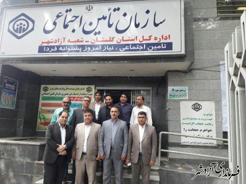 حضور معاون فرماندار در اداره تامین اجتماعی شهرستان آزادشهر بمنظور تبریک هفته تامن اجتماعی