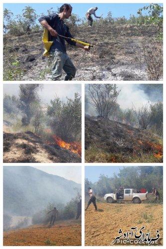 آتش سوزی در اراضی کشاورزی و مرتعی روستای کوهمیان شهرستان آزادشهر اطفا شد
