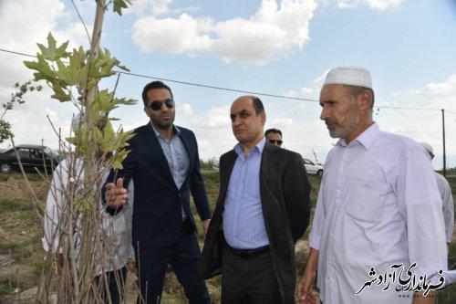 بازدید استاندار گلستان از طرح درختکاری توسط خیّر درختکار در روستای قورچای شهرستان آزادشهر