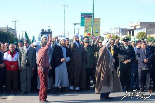 راهپیمایی باشکوه مردم ولایتمدار شهرستان آزادشهر در حمایت از فرمایشات مقام معظم رهبری