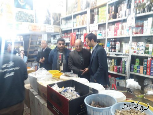 بازدید فرماندار آزادشهر به همراه اعضای شورای تامین از بازار سطح شهر و گفتگو با مردم شهرستان