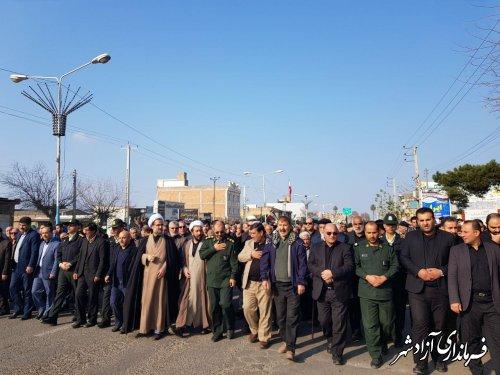خروش انقلابی مردم آزادشهر در حمایت از سردار رشید اسلام شهید قاسم سلیمانی