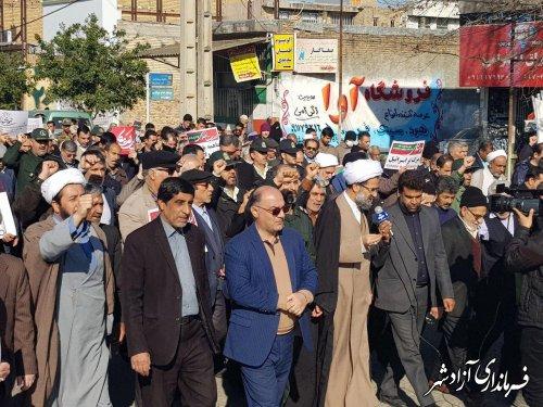 خروش انقلابی مردم آزادشهر در محکومیت اقدامات آشوبگران و اغتشاشگران