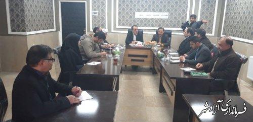 جلسه کارگروه فضا سازی سطح شهر بزرگداشت دهه فجر به ریاست دکتر منصوری در محل دفتر شهردار