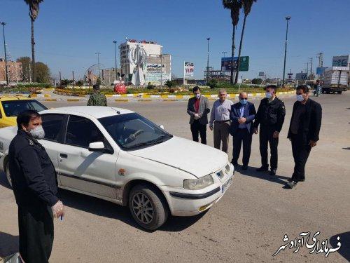 بازدید فرماندار آزادشهر از روند مسدودی ورودی های اصلی و فرعی آزادشهر