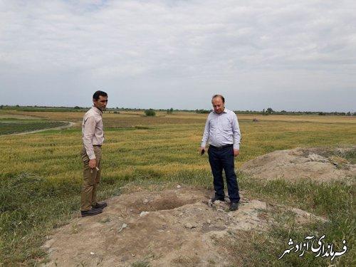 بازدید سرپرست یگان حفاظت میراث فرهنگی شهرستان آزادشهر از تپه تاریخی آق اویلی روستای قورچای