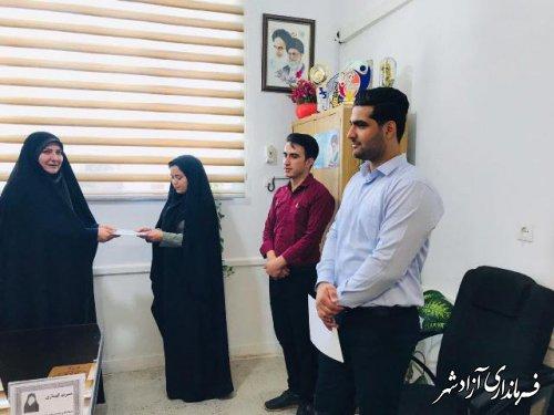 تجلیل از برندگان مسابقه کتابخوانی هفته معلم در آزادشهر