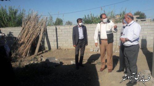 بازدید فرماندار آزادشهر به همراه جمعی از روسای ادارات از پروژه های عمرانی روستای عطابهلکه