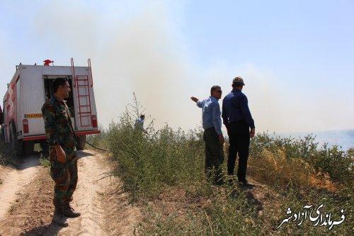 آتش سوزی ۲ عرصه جنگلی آزادشهر مهار شد